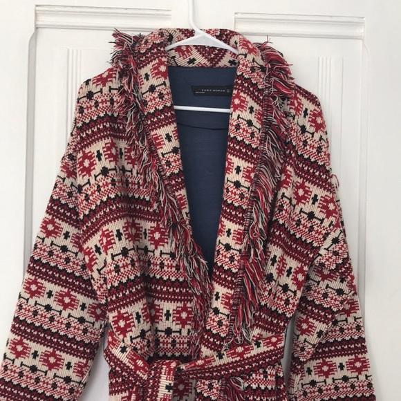 f2b62339 Zara Jackets & Coats | Jacquard Knit Coat | Poshmark